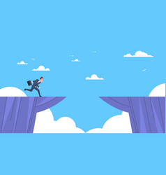 Businessman jumping over mountain gap business vector