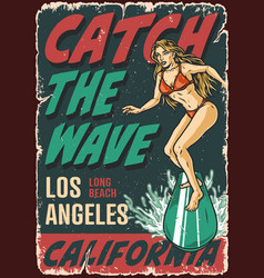 california surfing vintage poster vector image