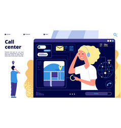 Call center customers chat with support operator vector