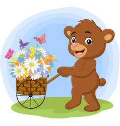 cartoon bear pushing cart full flowers vector image