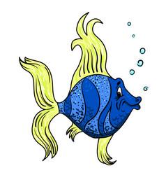 cartoon image of funny fish vector image