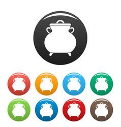 Cauldron kettle icons set color vector