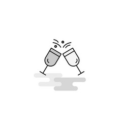 cheers web icon flat line filled gray icon vector image