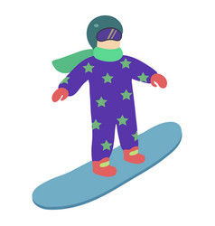 children is riding a snowboard in stylish bright vector image