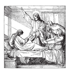 Christ raising the daughter of jairus vintage vector