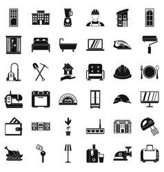 Comfortable house icons set simple style vector