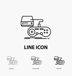 Console game gaming playstation play icon in thin vector