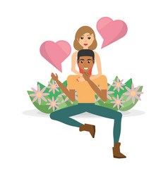 Couple sitting garden flowers bubble speech heart vector