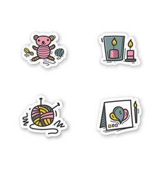 Craft hobby set stickers vector