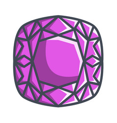 Cushion diamond in a flat style vector