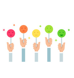 Customers feedback holding emoji vector