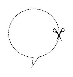 cut scissor speech bubble lines figure vector image