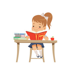 Cute girl sitting at the desk and reading a book vector