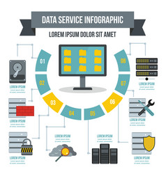 Data service infographic concept flat style vector