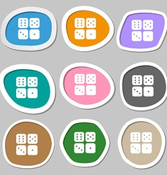 Dices icon symbols Multicolored paper stickers vector image