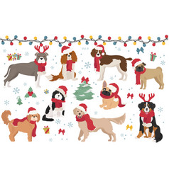 Dog characters in santa hats and scarves vector