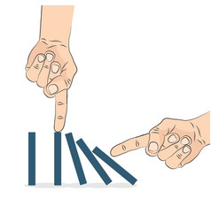 Domino effect hand pushing the domino vector
