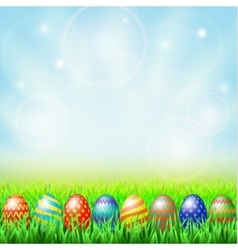 Easter eggs green sunny meadow vector
