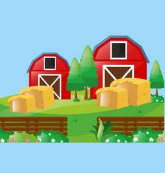 Farm scene with two barns in farm vector