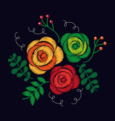Fashion embroidery stitches flowers and leaves vector