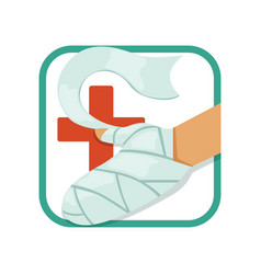 first aid and treatment of burns human s hand vector image