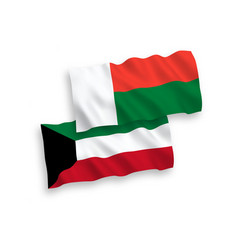 Flags madagascar and kuwait on a white vector