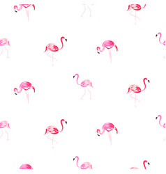 flamingo pink cartoon hand drawn seamless pattern vector image