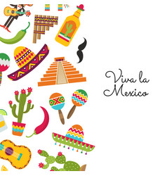 flat mexico background with place text vector image