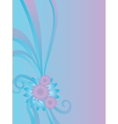 Flowers and ribbons on blue vector