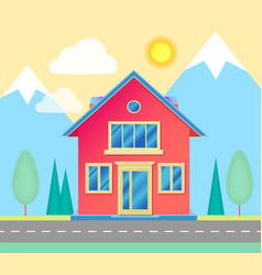 front view small cottage with road trees vector image