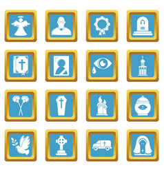 Funeral ritual service icons set sapphirine square vector