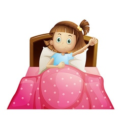 Girl in bed vector image vector image