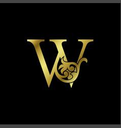 Gold luxury letter w ornament logo alphabet vector
