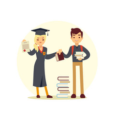 graduate and books to student cartoon character vector image