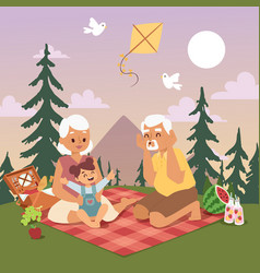 grandmother and grandfather together play vector image