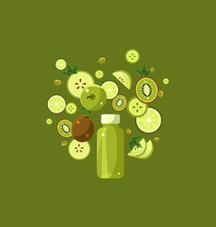 Green smoothie drink in bottle ingredients flying vector