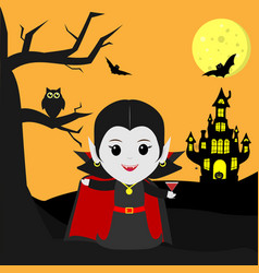 happy halloween vampire dracula in the style of vector image