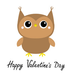 happy valentines day cute owl toy icon big eyes vector image