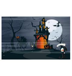 Haunted house headless horseman pumpkins at moon vector