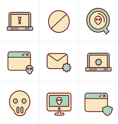 Icons Style Digital criminal icons set vector