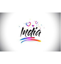 India welcome to word text with love hearts and vector