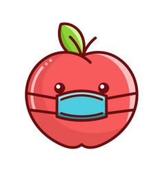 Kawaii apple wearing mask cartoon vector