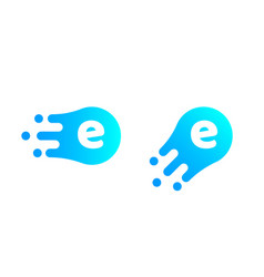 letter e logo abstract liquid bubble drop vector image