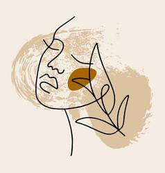 Line modern minimalist woman face art design print vector