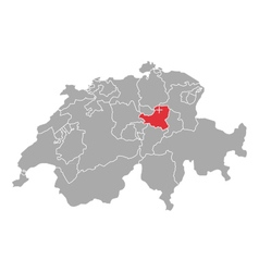 Map of Switzerland with flag of Schwyz vector image