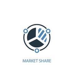 market share concept 2 colored icon simple blue vector image