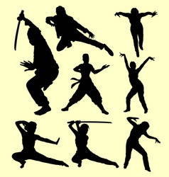 martial art using sword silhouette vector image