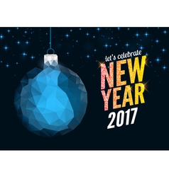Merry christmas and happy new year blue polygonal vector
