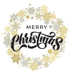 merry christmas lettering with golden and silver vector image