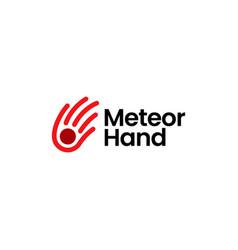 meteorite hand impact meteor logo icon vector image